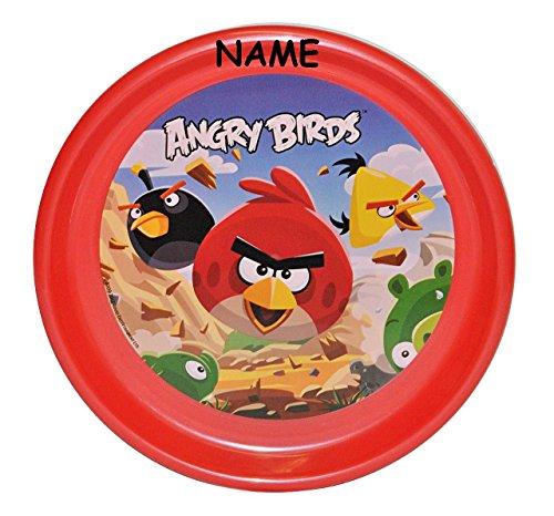 Unbekannt großer Teller incl. Name -  Angry Birds  - ø 23 cm Kinderteller - Geschirr für Kinder - Jungen & Mädchen - Red Vögel Vogel - Computer Spiel - Speiseteller /.. (Angry Birds Teller)