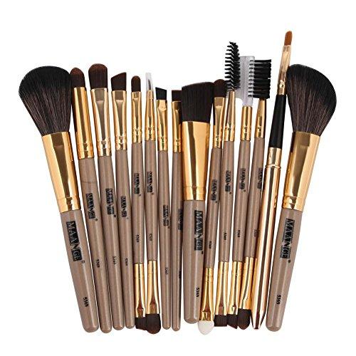 LONUPAZZ 15 pcs/set maquillage brush set makeup brushes kit outils maquillage professionnel maquillage pinceaux yeux pinceau pour les lèvres (Noir)