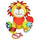 Happy Cherry - Bebé Juguete Colgante Infantil de Animal Felpa Peluche de Cochecito Cuna Carrito con Mordedor Sonido para Arrastrar Niños Niñas - León