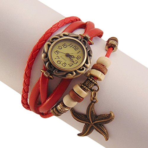 Habors Multiband Watch Red Bracelet With Star Charms