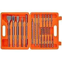 WELLCUT® WC-SDS17 SDS Plus - Juego de brocas y cinceles para martillo giratorio (17 piezas)