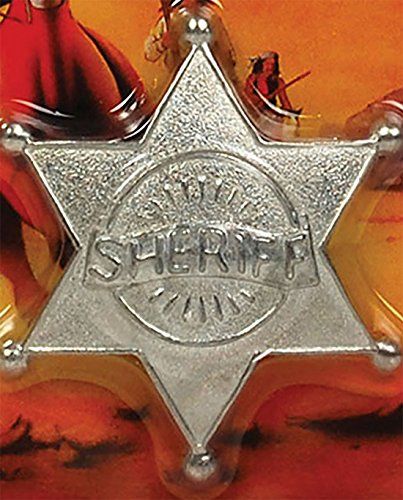 t Cowboy Sheriff Badge Silber 6 Point Star US Cop Polizei Pin (Gangster Frau Kostüm)