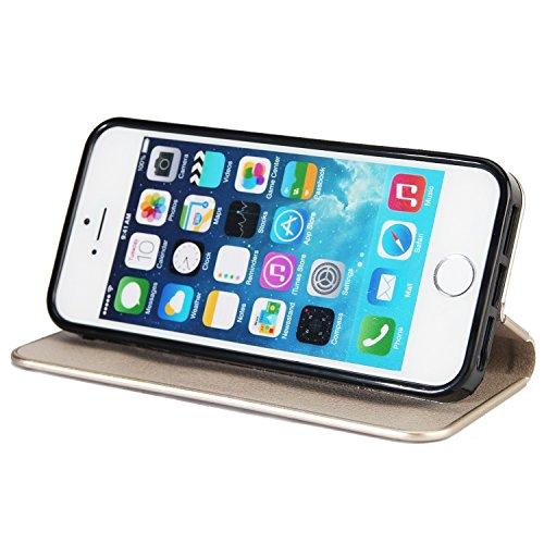 Schöner eleganter magnetischer Verschluss PU-lederner schützender Abdeckungs-Fall mit Kickstand und Einbauschlitz für iPhone 5 u. 5s u. SE ( Color : Gray ) Gray
