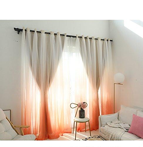 Tenda oscurante,stile principessa tendaggi doppio strato pannelli finestra per camera da letto soggiorno balcone-arancione 150x270cm(59x106inch)