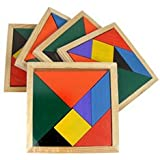 FemmeStopper Wooden Tangram 7 Piece Jigsaw Puzzle Colorful Square IQ Game Brain Teaser Intelligent Educational Toys For Kids