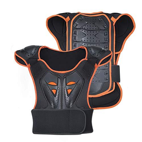 WILDKEN Bambini Body Armor, Ciclismo Skateboarding Petto Posteriore Spine Protector Vest, Bambini Moto Giacca Moto Motocross Body Guard Armatura Protettiva Sport Body Armor Jacket (L, Arancione)