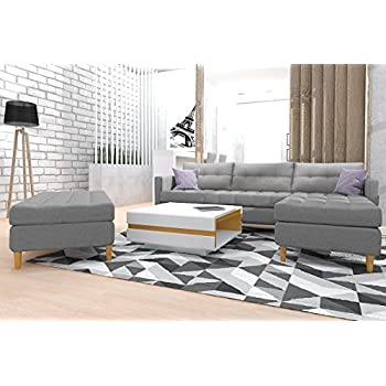 kopenhagen ecksofa eckcouch in grau mit federkern bettfunktion bettkasten hocker holzf en. Black Bedroom Furniture Sets. Home Design Ideas