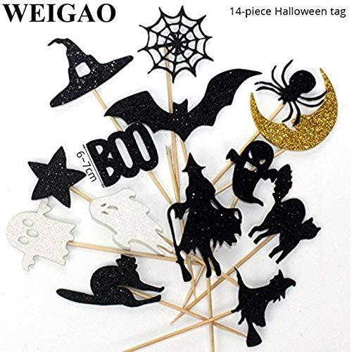 lloween Party kuchendeckel schwarzhexenschläger Geist Kuchen dekorieren Fahnen Kinder Happy Halloween PartyDekoration liefert14 stücke ()