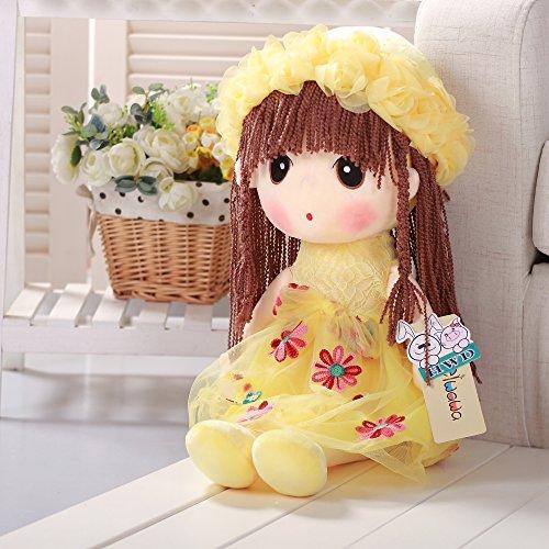 VERCART Puppe Tuch Doll Little Stuffed Spielzeug Interaktive Kinder Girl Junge Lernspielzeug Geburtstag Geschenk Gelb 70cm