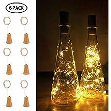 20 LED luces de la cadena, Umiwe Cobre vino Luces de hadas Baterías de energía