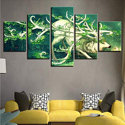 Gwgdjk Leinwand Malerei Wand Kunst Wohnkultur Hd Drucke 5 Stücke Wald Tier Deer Bilder Moderne Baum Gehörnter Elch Dollar Poster-30X40/60/80Cm,Without Frame
