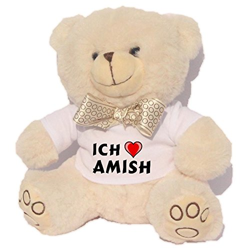 Personalisierter Weiß Bär Plüschtier mit T-shirt mit Aufschrift Ich liebe Amish (Vorname/Zuname/Spitzname) (Bar Amish)