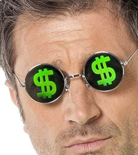m Funbrille Dollar-Zeichen Spassbrille schwarz-grün Einheitsgröße ()