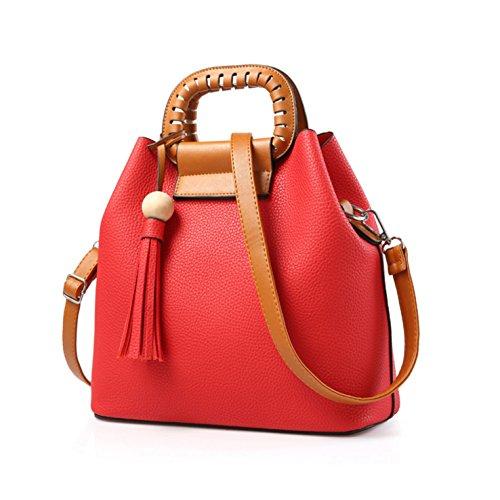HeHe (2Pcs) Damen Handtaschen, PU Leder Schultertasche Set Hobo mit Crossbody Messenger Bags Geldbeutel - Rot