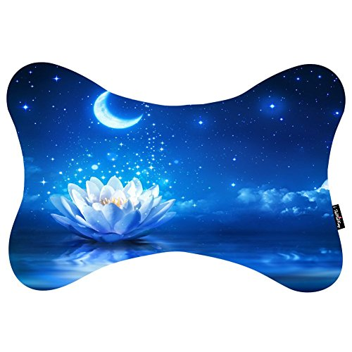 i-famuray-dog-bone-shape-car-neck-pillow-cushion-with-cosmos-fastening-strap-water-lily-flower-bloom