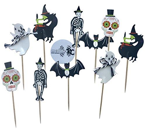 10x Halloween Zahnstocher Grusel Party Cocktailfähnchen Cocktailstäbchen Dekostecker Sticker Picks Häppchen Helloween Party Fahne Cakepops Fledermaus Kürbis Hexe Geist Totenkopf Skelett - (Halloween Fledermaus Picks)