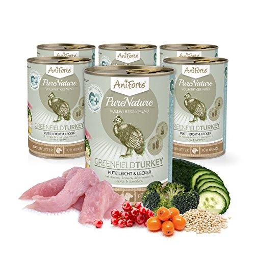 Comida Húmeda para Perros Sin Cereales | 97,3% Carne de Pavo Greenfield Turkey (6 x 400g) | Sin Granos Ni Conservantes | Dieta Barf | AniForte