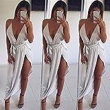 DioKlen Damen Sommerkleid tiefer V-Ausschnitt Sexy ärmellos Seide Minikleid Abendkleid Party Kurz Minikleid S weiß