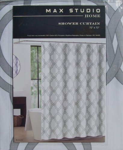Max Studio Home Halo Grey White Quatrefoil Fabric Shower Curtain Moroccan Tile Trellis