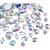 108 Piezas Gemas Transparentes AB Cristales de Coser de Acrílico Facetados Diamantes de Imitación de Espalda