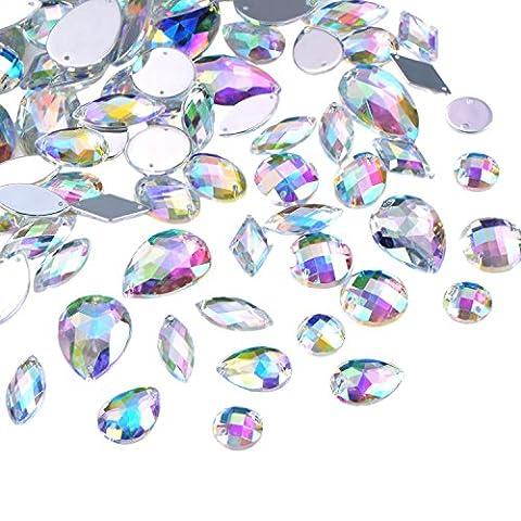 Hicarer 108 Stück AB Klar Edelsteine Acryl Aufnähen Strass Facette Flatback Kristall Knöpfe für Kleidung Kleid Dekorationen