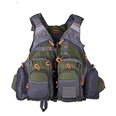 AKUKA Fly Fishing Vest - Removable Adjustable Fishing Safety Life Jacket Multi-Pockets Breathable Watersports Accessories for Swimming Sailing Boating Kayak Floating by AKUKA 02