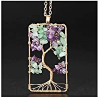 Natural Stone Amethysts Gravel Square Tree Of Life light Gold Color Pendant Necklaces Women Men Crystal