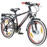 20 Zoll MTB Jugendfahrrad Galano Adrenalin Kinderfahrrad Mountainbike, Farbe:schwarz / rot