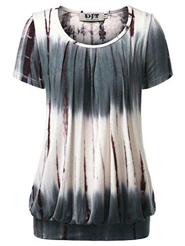 DJT FASHION DJT Damen Casual Falten Kurzarm T-Shirt Kurzarmshirt Rundhals Stretch Tunika Tie Dye Kaffee L