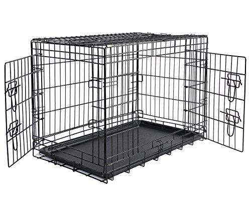 Woltu ht2030m3 gabbia per animali recinto per cani gatti trasportino pieghecole richiudibile con due porte in metallo 107x71x76cm