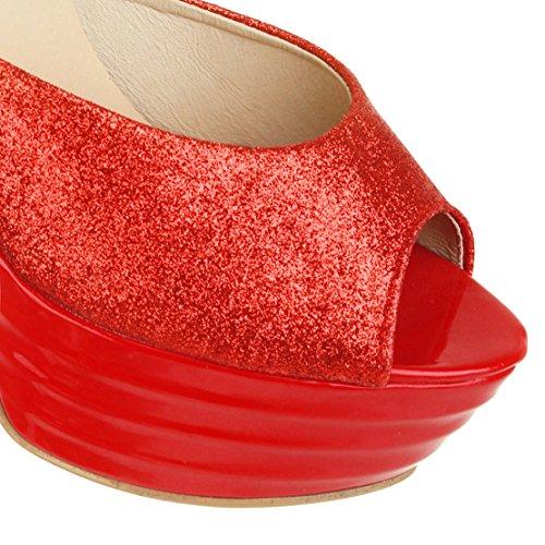 Heels Schuhe Peep AIYOUMEI Extrem Plateau Knöchelriemchen Elegant Glitzer High Toe mit Sandalen Rot Party Damen fqqxZR