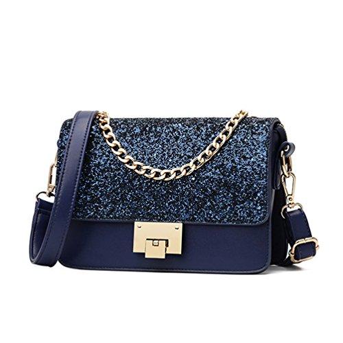 YFbear Satin Strass Damen Clutch Abendtasche Handtasche elegant Abendtasche Damen Clutch Tasche Glitzer Leder Schultertaschen Strass Party Tasche Umhänge Tasche Umhaengetasche (Blau)