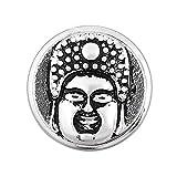 Clear Rhinestone Snap Button Buddha Design Chunk Charm