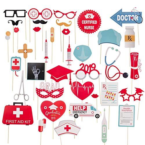 hinffinity 38 Stück Foto-Requisiten für Abschlussfeier, für medizinische Schule, lustige Schnurrbart-Brille, Abschlussfeier, Party-Zubehör