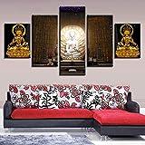Dengjiam Kunst Leinwand 5 Stücke Statuen Bilder Buddhismus Tempel Licht Poster Modulare Wand Hd Drucke Gemälde Wohnkultur
