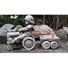 Boy sul trattore Decorazione da giardino in pietra/Statua/Scultura/Vaso