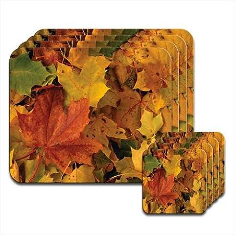 Crunchy Beautiful Fallen Autumn Golden Orange Yellow Leaves Set of 4 Placemat & Coasters