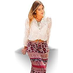 SEGALA Mujer Falda Larga Bohemia de Cintura Alta Hippie con Flores,L, Rojo