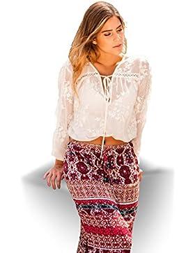 SEGALA Mujer Falda Larga Bohemia de Cintura Alta Hippie con Flores S,M,L, Rojo