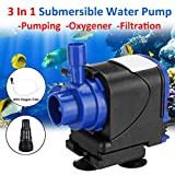 #7: RS Series 3 in 1 Submersible Water Pump for Fish Tank Aquarium Air Filter Pond Fountain Sump Used for Pumping,Oxygenation and Filtration (RS-6500)