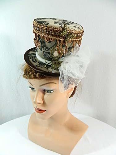 Midi Zylinder braun Steampunk Fascinator Damenhut Headpiece