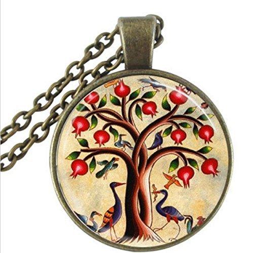 xinzhahi Baum des Lebens Halskette, Vögel und Granatapfel Fruit Tree Nature Art Anhänger mit Kugel -