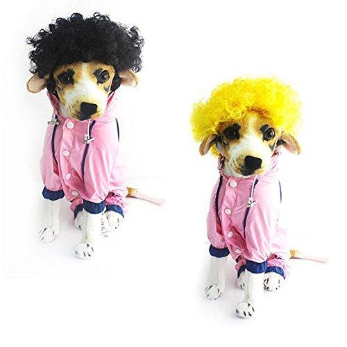cke Clown Zirkus Curly Halloween Haustier Hund Katze Kostüm Zubehör 2 FARBEN (Gold) (Afro Halloween-kostüm)