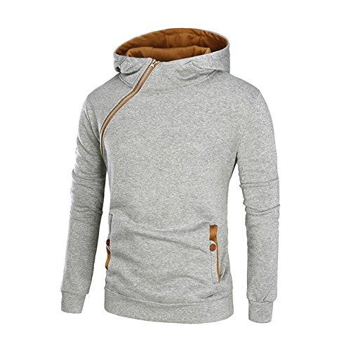 Sunshey Men's Long Sleeve Hoodie Warm Hooded Coat Jacket Patchwork Hooded Sweatshirt (M, Grey+Yellow)