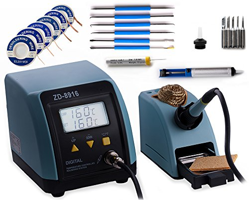 Digitale Lötstation bis 480°C 60W (kurzzeitig 130W) regelbar Lötkolben Löten mit viel Zubehör Lötschwamm Metallschwamm