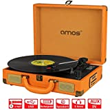 AMOS Retro Suitcase Briefcase Style Turntable 3 Speed Portable Record Player Vinyl to MP3 Converter with Rechargeable Battery Stereo Speakers FM Radio USB Port SD Card Slot AUX In RCA Out (Vintage Brown)
