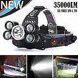 35000 LM 5X CREE XM-L T6 LED Phare Rechargeable Phare de Voyage Phare de Voyage (Noir)