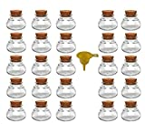 Viva Haushaltswaren - 25 x Mini Gewürzglas 40 ml, runde Glasdose mit Korkverschluss als Gewürzdose & Vorratsdose für Gewürze, Salz etc. verwendbar (inkl. Trichter gelb)