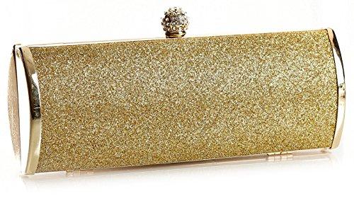 BHBS Pochette da donna alla moda, ideale per matrimoni, feste, serate, misura: 22 x 11 x 5 cm (L x A x P) Oro - Oro