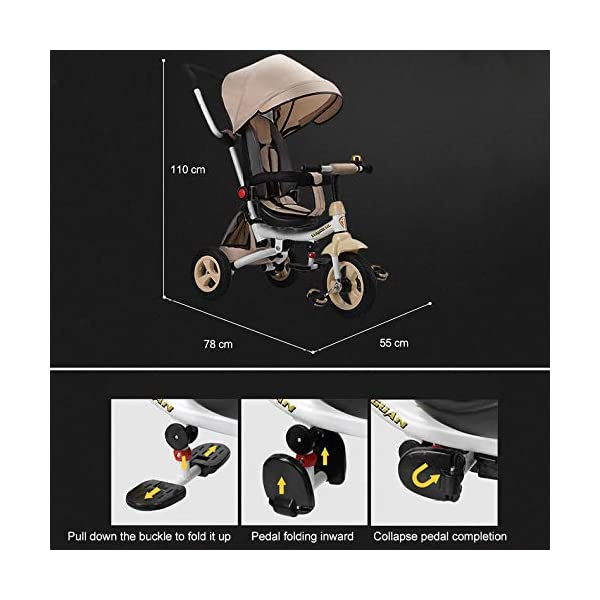 4 In 1 Childrens Folding Tricycle 12 Months To 6 Years 360° Swivelling Saddle Children's Pedal Tricycle Folding Sun Canopy 3-Point Safety Belt Kids' Trikes Maximum Weight 25 Kg,Brown  ★Material: High carbon steel frame, suitable for children from 12 months to 6 years old, the maximum weight is 25 kg ★ 4 in 1 multi-function: can be converted into a stroller and a tricycle. Remove the hand putter and awning, and the guardrail as a tricycle. ★Safety design: Golden triangle structure, safe and stable; front wheel clutch, will not hit the baby's foot; 3 point seat belt + guardrail; rear wheel double brake 4